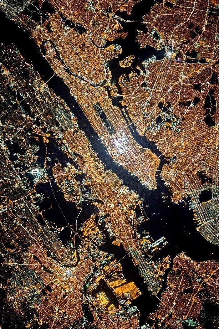Satellite image taken at night - NYC
