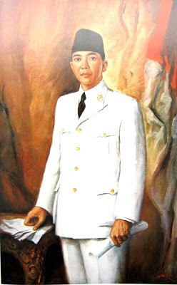 """DR.Ir.Soekarno Presiden RI"" by Basuki Abdullah, Medium: Oil on Canvas, Size: 149cm x 94cm"