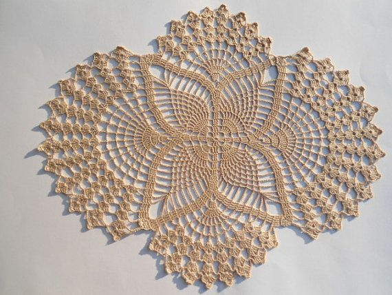 Crochet doily ecru oval doilies lace home decor for Lace home decor