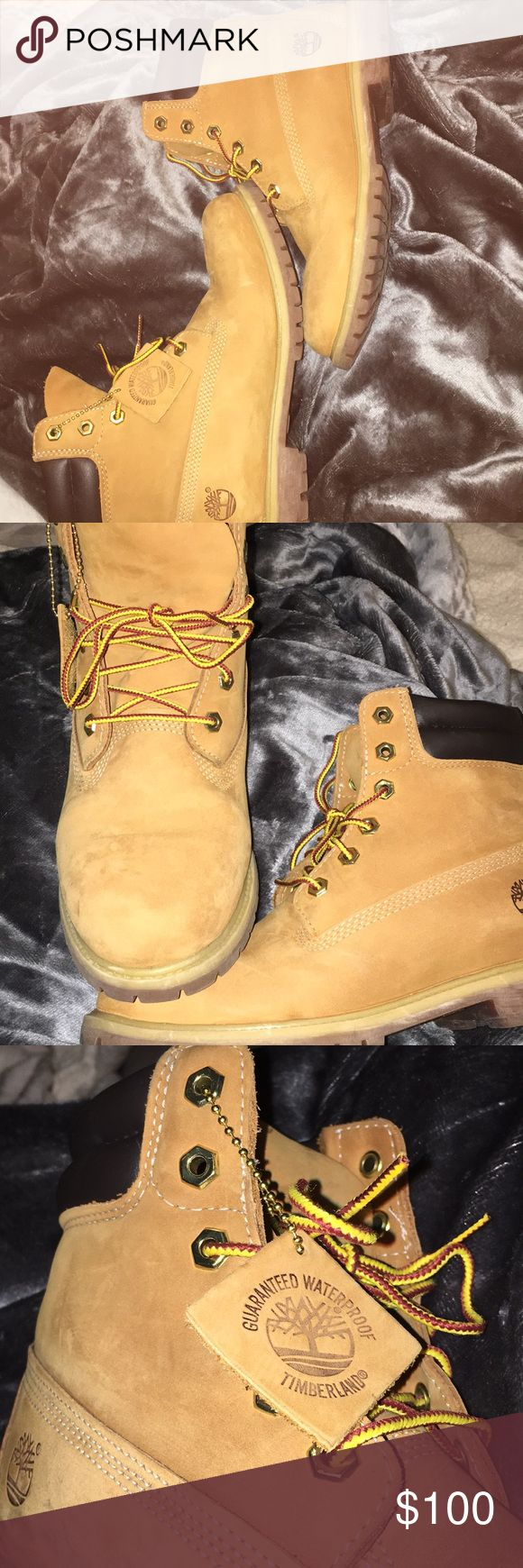 "original Timberland's very little wear, only worn up to five times. one little white scuff mark, but it's pictured. original ""wheat nubuck"" color. women's size!  Timberland Shoes Winter & Rain Boots"
