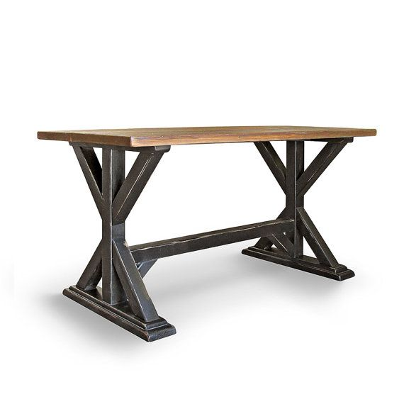 Our Farmhouse Pub Table is inspired by the simple designs of Old Irish Farmhouses tables found in typical country houses. Its Crafted by hand of Solid Old Growth Douglas Fir, and features a planked top and a x style base. Shown in a Textured Hand Rubbed Natural Top with worn charcoal base. Many size and finish options available, just ask 951-387-9742 Farmhouse Pub Table 32 x 50 x 36 Also available in; 32 x 60 x 36: $695 32 x 70 x 36: $795 32 x 80 x 36: $895 Red River Rustics is a small…