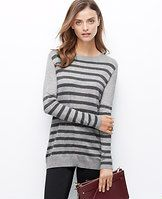 Side Zip Striped Sweater - Zipped down - or up to reveal a favorite layering tee - this wool-infused striped piece is a perfect match for slim pants and leggings. Crew neck. Long sleeves. Exposed side zippers. Ribbed neckline, cuffs and hem.