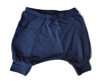 Boy Baby Harem Shorts - Baby Boy Clothes, Baby Clothes, Organic Baby Clothes, Harem Baby Shorts, Organic Bamboo Baby Harem Shorts - Navy