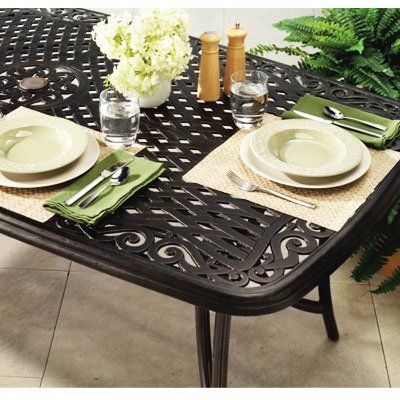 Ravelle Patio Collection Dining Table, Aged Bronze Cast Aluminum Frame, 72 x 38 x 28-In.: Model# ALF61115K01 | True Value