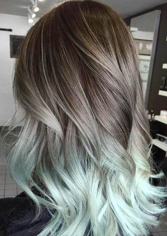 Silver  Hair Grey Hair Mint Hair Balayage Hair by OceanLocksHair