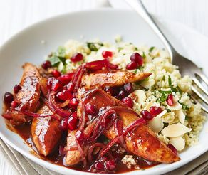 Health Chicken Recipes: Pomegranate Chicken With Almond Couscous