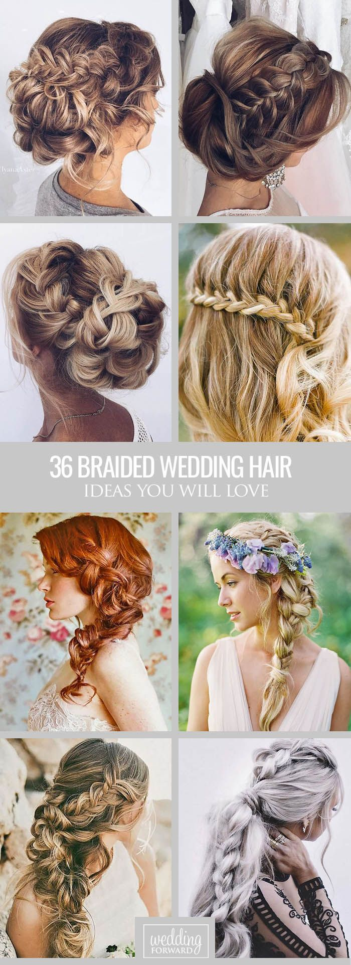 36 Braided Wedding Hair Ideas You Will Love ❤ From soft waves to gorgeous updos…