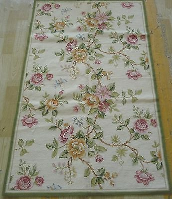 Handmade Floral Roses Butterflies Wool Needlepoint Area Rug~New~Free Shipping