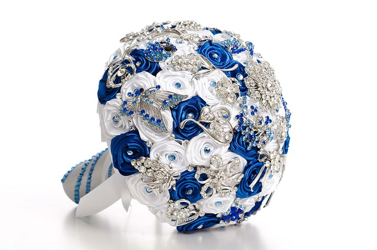 Blue and White Wedding Brooch Bouquet