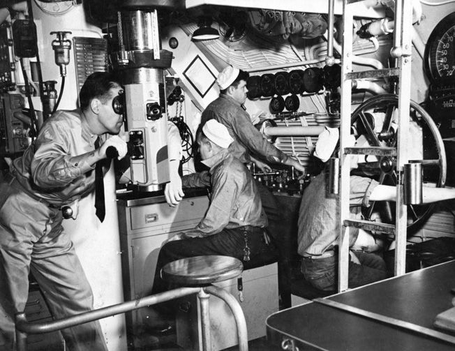 There was very little wasted space on a submarine.  This view of the Narwhal-class Nautilus's (SS-168) control room was similar to that of Seawolf.