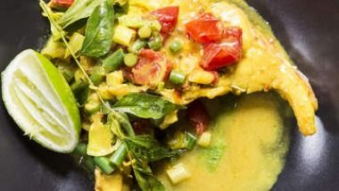 Rockling curry with fresh turmeric and ginger.