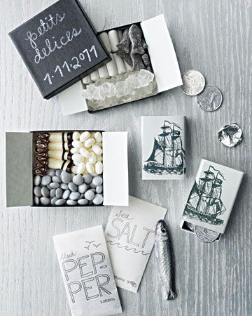 white and slate wedding favors