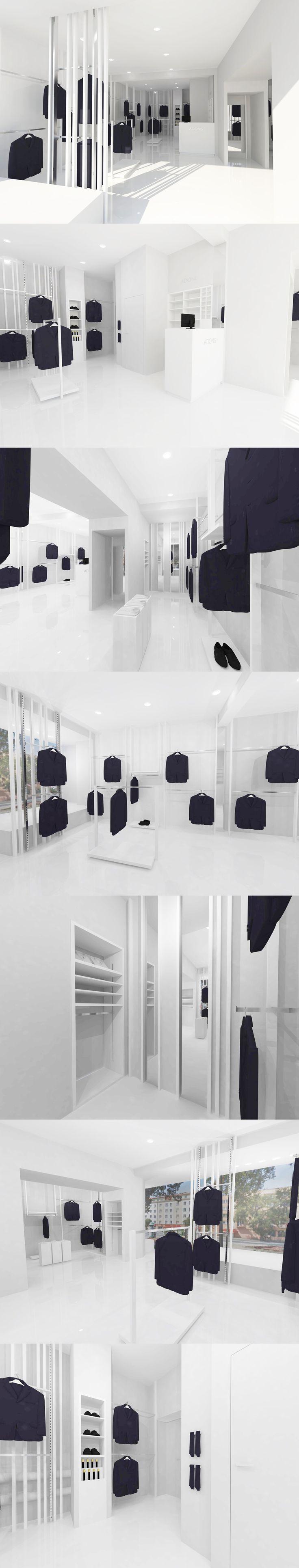 Conceptual design showroom for the manufacturer of suits Adonis.  Design by Debowskidesign.  www.debowskidesign.com