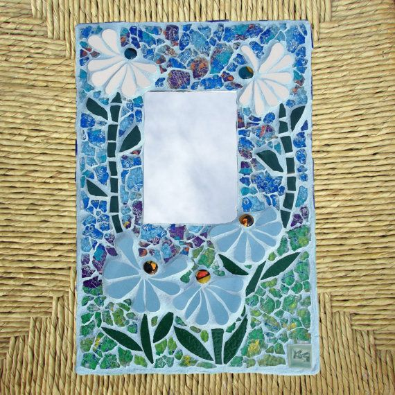 Mosaic Mirror with Blue Daisies ooak wall by RecycleMeMosaics