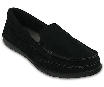 crocs Women's Walu II Suede Loafer Boat Shoe, Black, 9 M US: Walk  collection boat shoe style
