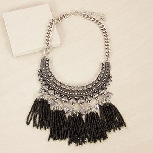 Moroccan Seed Bead Tassels Plate Necklace