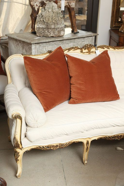 pair rust french velvet pillows
