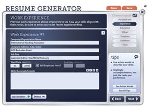 resume generator will help your students create a resume and cover letter to snag that coveted