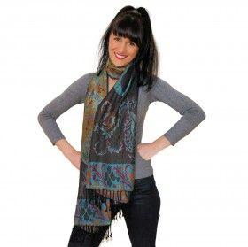 Superbe écharpe type pashmina douce soyeuse et chaude à prix Mini à découvrir sur http://www.merabarata.fr/les-jamavars/451-chale-jamavar-noir-bleu.html