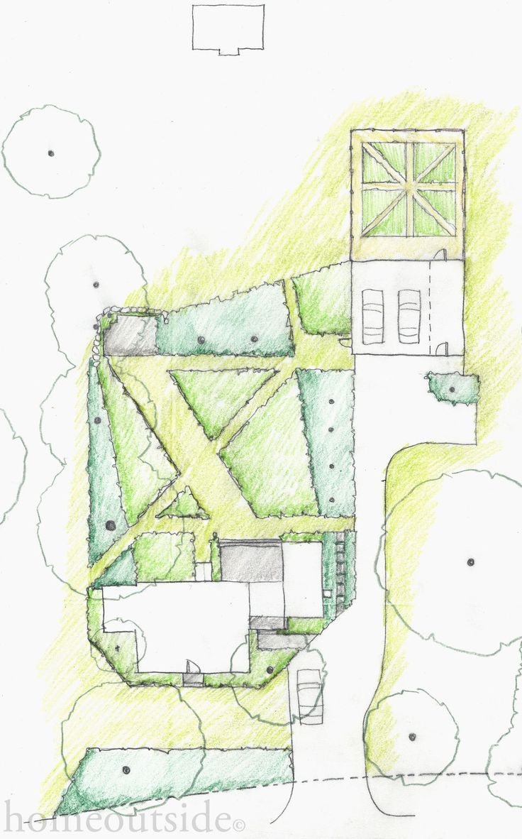 """Crisp Angles"" landscape design explores perspective and direct paths: Home Outside Design, online landscape design service"