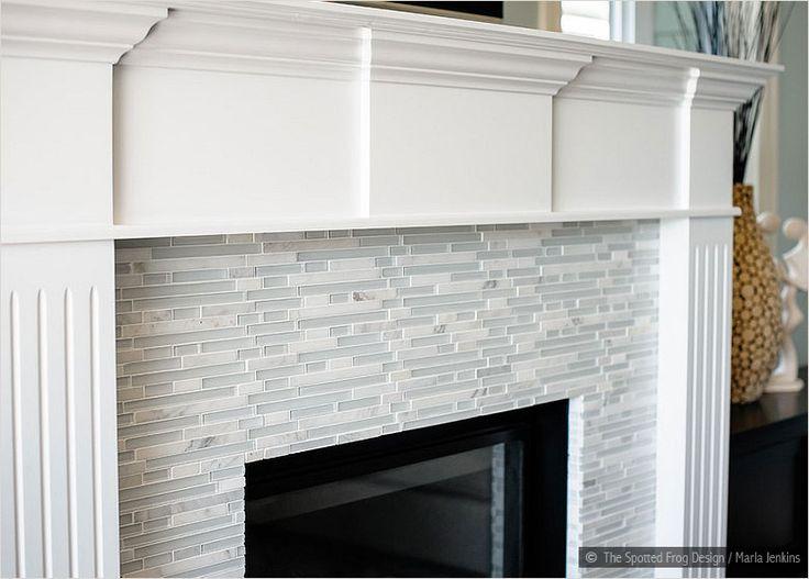 marble Fireplace tiles white trim   Elegant White Marble & Glass Kitchen Backsplash Tile