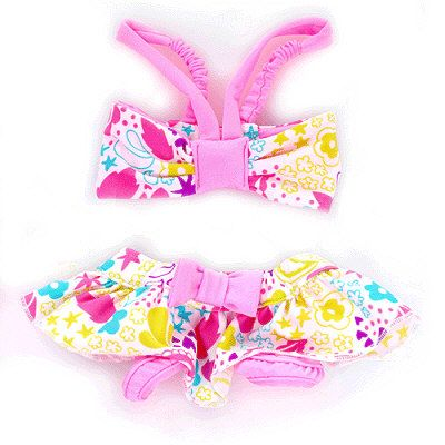 Waikiki Dog Bikinis by Pooch OutfittersCute floral tube top with elastic straps and velcro closures. Bottom has a bow detail and velcro closures. Great for the beach, pool or just lounging on those hot days! Belly area is open to avoid soiling.  95% polyester, 5% spandex. Pink.  SOLD OUT IN SIZES, XXS, Medium, Large,  XLPupRwear has dog clothes for toy breeds  and small & large dogs .All the latest styles, and current fun items that dog boutiques carry.