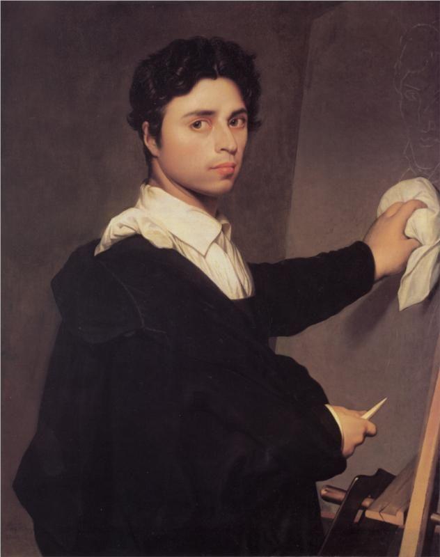 Autorretrato de Jean Auguste Dominique Ingres  (1780-1867)  Aunque ha sido reconocido como el último representante de los grandes pintores del neoclasicismo francés, Ingres representa una postura ambigua frente a los postulados clasicistas que le sitúan dentro del germen del movimiento romántico.