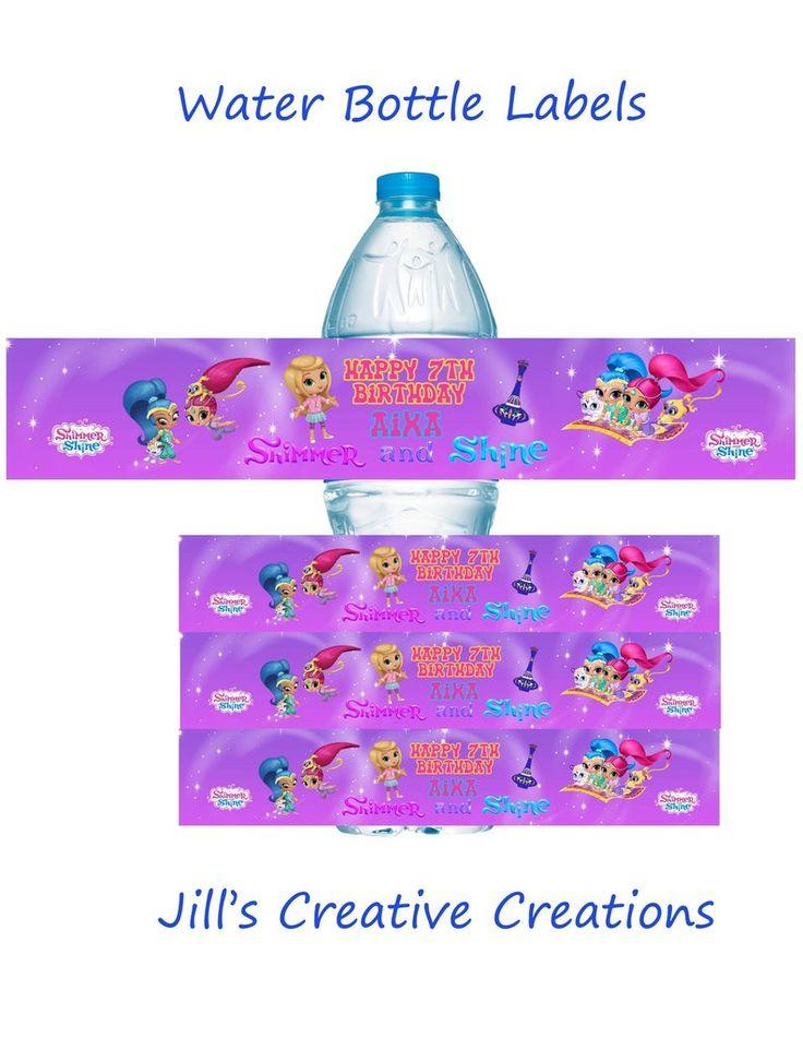 Shimmer and Shine Water Bottle Labels