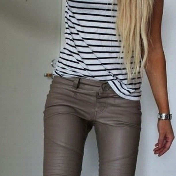 Grey leather♥♥♥♥♥♥ must have. Great with the stripped tee. Just perfect.