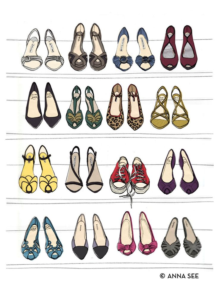 Designer Dream Shoe Closet Oversized Archival Fashion Illustration Print via Etsy.