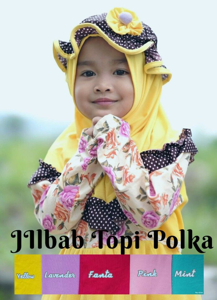 Jilbab instan / Jilbab Anak Topi Polka Kombi Polos, Jilbab Anak no pad dengan hiasan Rempel motif Polkadot pada bagian bawah dan dipercantik dengan hiasan aplikasi Topi karet yang terpisah
