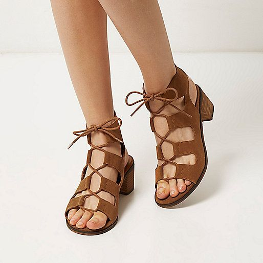 Light brown leather ghillie lace up sandals - heeled sandals - shoes / boots - women
