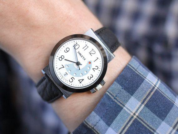 Rare soviet watch Raketa  vintage wrist watch men  by somesoviet