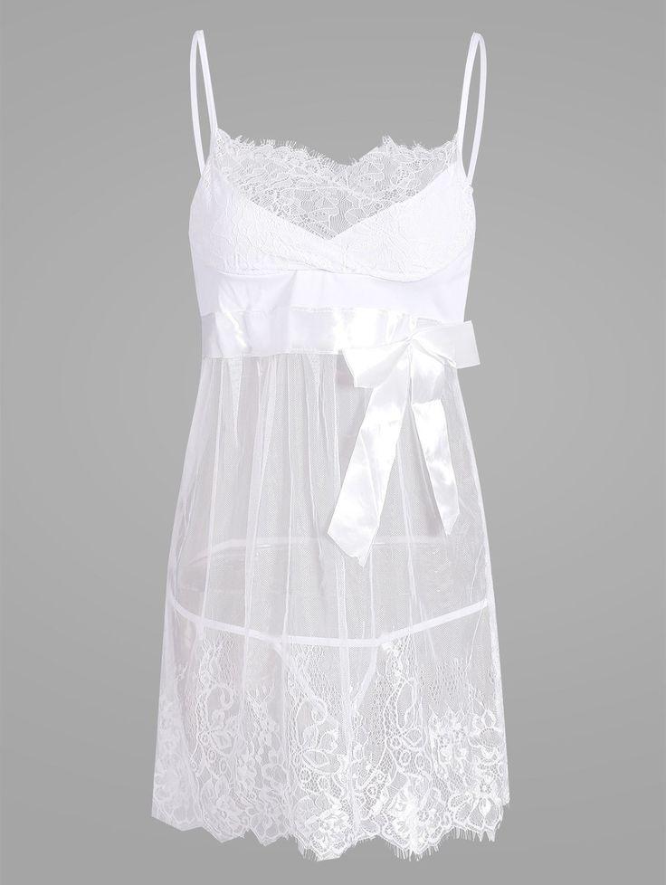 See Thru Lace Slip Babydoll - WHITE XL