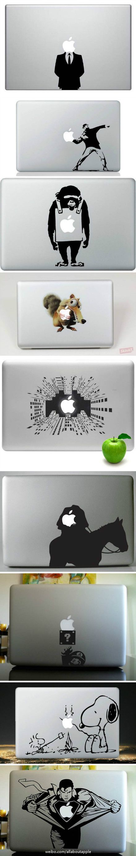 This compilation of MacBook stickers show the variety and creativity of the…