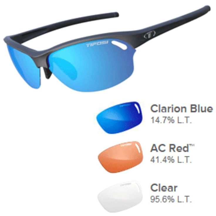 Tifosi Wasp Clarion Blue/AC Red™/Clear Lens Sunglasses - Matte Black