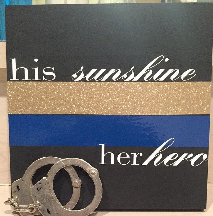 His Sunshine Her Hero Wooden Sign, Thin Blue Line, law Enforcement, LEO Wife,gift for him,gift for her by BeautyAndTheBadge on Etsy https://www.etsy.com/listing/510111361/his-sunshine-her-hero-wooden-sign-thin