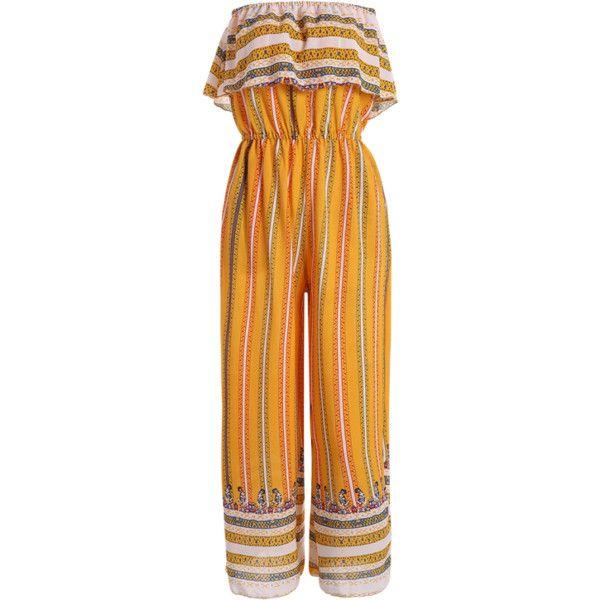 Ruffles Tribal Print Tube Jumpsuit Yellow ($22) ❤ liked on Polyvore featuring jumpsuits, yellow jumpsuit, jump suit, ruffle jumpsuit, tribal jumpsuit and tube jumpsuits