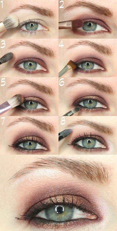 Eye makeup application for hooded eyes