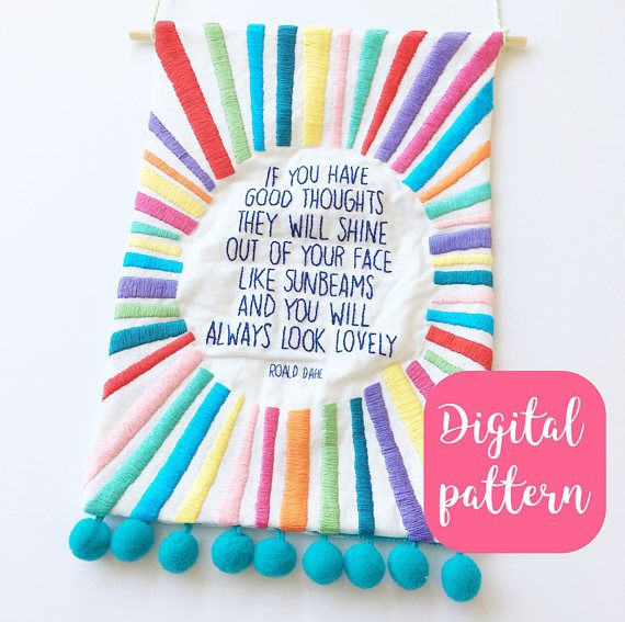 Sunbeams Roald Dahl quote embroidered banner PDF pattern