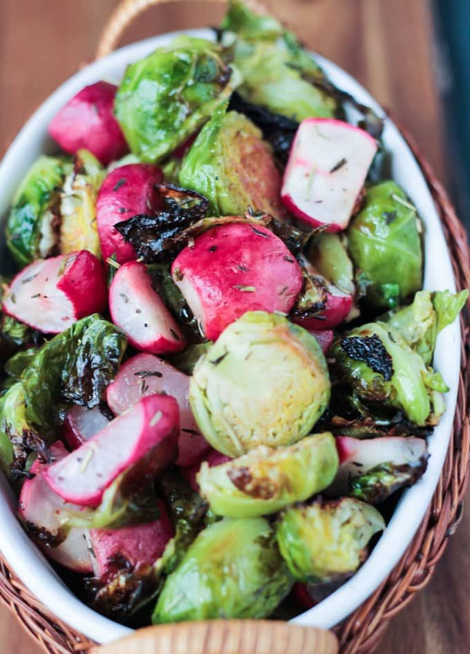 Roasted Radish and Brussels Sprouts Salad  425 degrees 25 min
