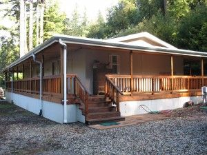 297 best mobile home porches images on pinterest for Wrap around porch cost