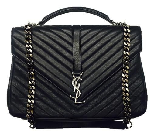Classic Large College Monogram Ysl Black Matelasse Leather Shoulder Bag in  2019  94a20e98cf4d3