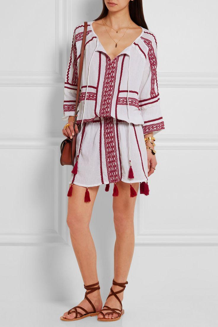 Dodo Bar Or | Plissé embroidered cotton mini dress | NET-A-PORTER.COM