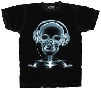 X-ray skull with headphones shirt