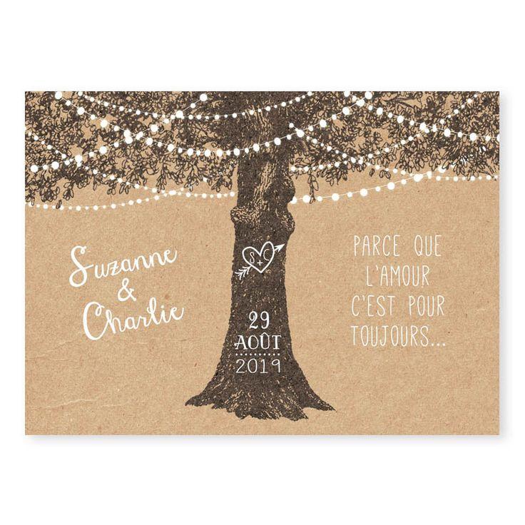 faire-part mariage arbre rustique kraft guirlandes guinguette