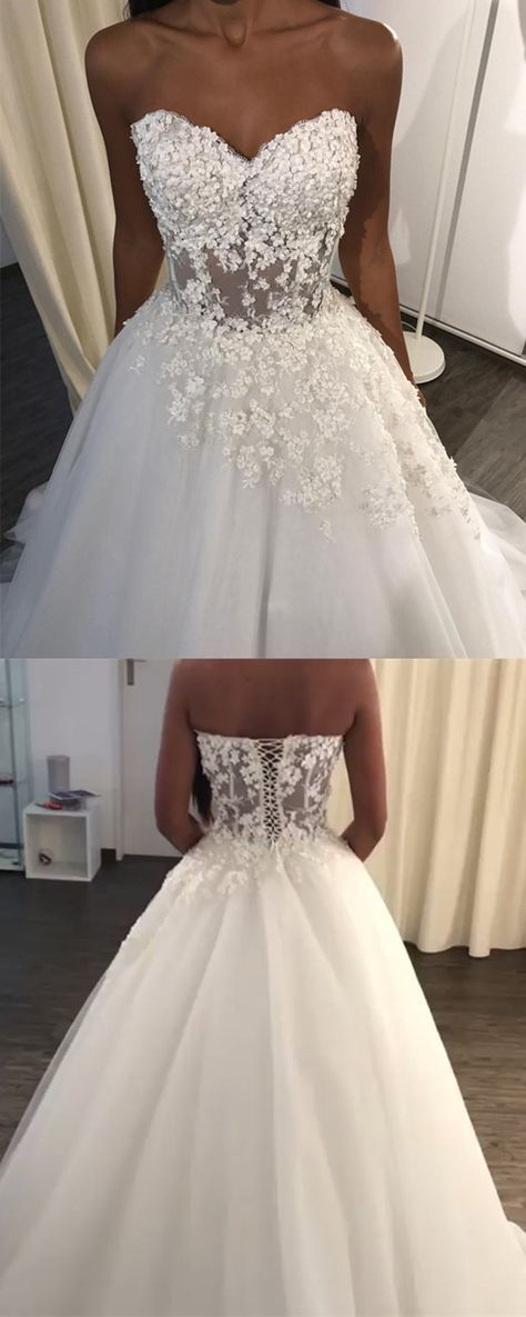 Elegant Lace Appliques Sweetheart See Through Corset Tulle Wedding Dresses For Bride 2018