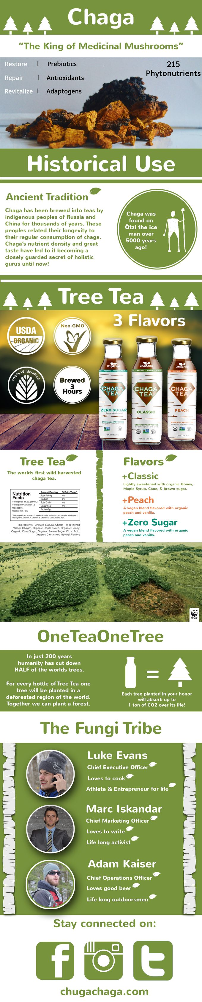 Tree Tea is the first organic and non-GMO certified chaga infused beverage. Brewing the world's best chaga for 3 hours! OneTeaOneTree.