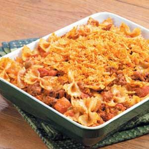 Taco Casserole Recipe  Great recipe with a little kick.  I use a small can of tomato sauce instead of the diced tomatoes and medium salsa.  I also added a can of black beans.