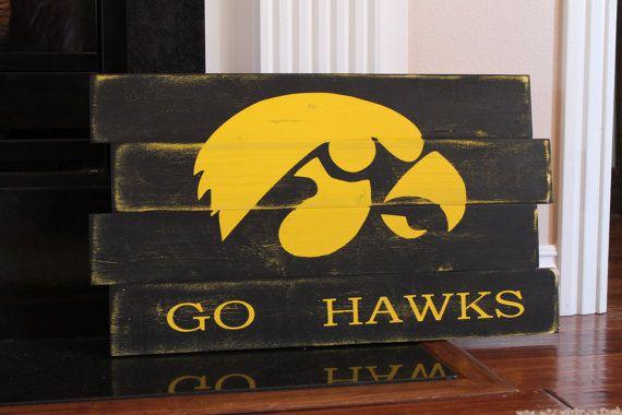 University of Iowa Hawkeyes Distressed Wood Sign